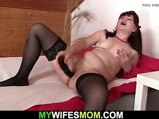 motherinlaw warms up her cunt before cheating sex