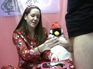 cfnm babe jerks the big one