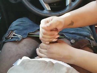 friend jacking me off in my car