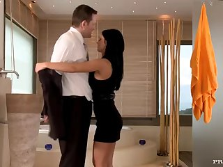 horny brunette fucks one of her securities