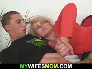 old blonde mother in law riding his cock
