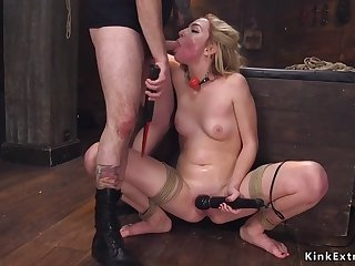shaved blonde banged by master in bdsm