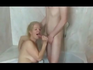 busty cougar milf seduces and fucks shy boy in the shower