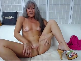 sexy fit gilf with small gut and creamy pussy